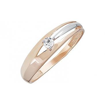 Кольцо с фианитом из красного золота 133529