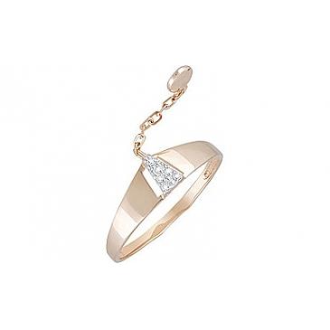 Кольцо с фианитом из красного золота 133455