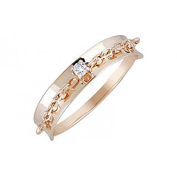 Кольцо с фианитом из красного золота 133457