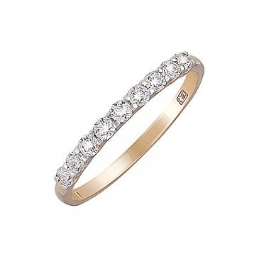 Кольцо с фианитом из красного золота 133857