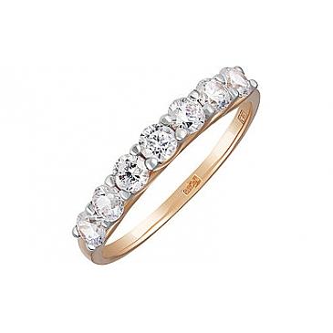 Кольцо с фианитом из красного золота 133894