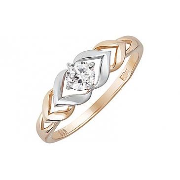 Кольцо с фианитом из красного золота 134358