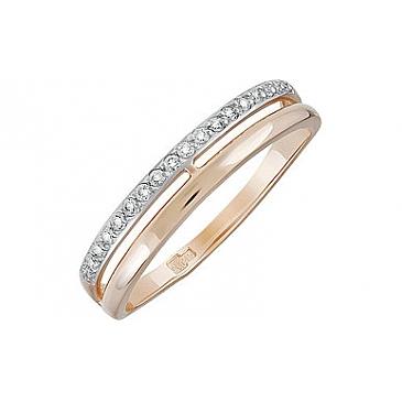 Кольцо с фианитом из красного золота 134357