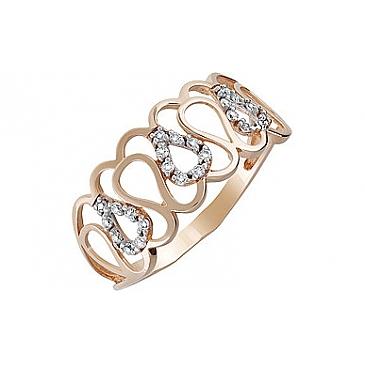 Кольцо с фианитом из красного золота 134391