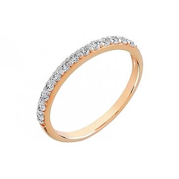 Кольцо с фианитом из красного золота 65290