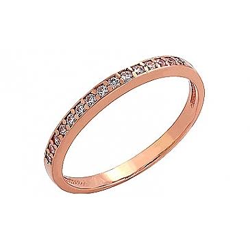 Кольцо с фианитом из красного золота 69477
