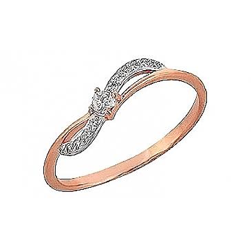 Кольцо с фианитом из красного золота 65756