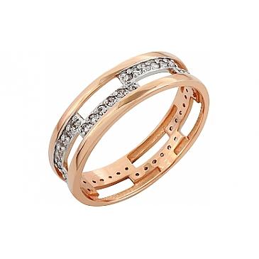 Кольцо с фианитом из красного золота 83685