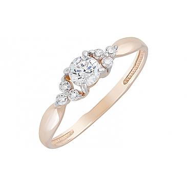 Кольцо с кристаллом SWAROVSKI и фианитами из красного золота 129067