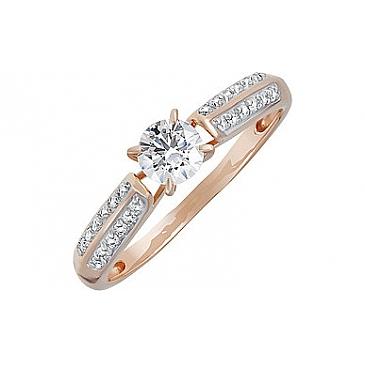 Кольцо с кристаллом SWAROVSKI и фианитом из красного золота 133238