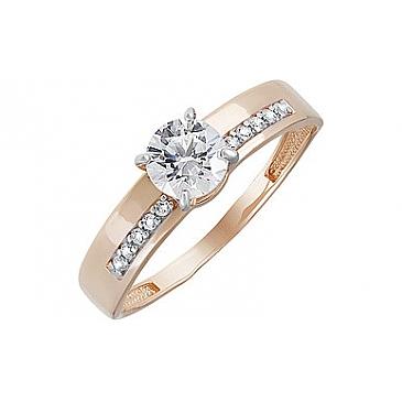 Кольцо с кристаллом SWAROVSKI и фианитом из красного золота 133522
