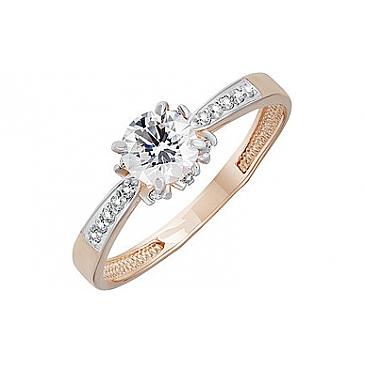 Кольцо с кристаллом SWAROVSKI и фианитом из красного золота 133525