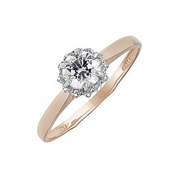 Кольцо с кристаллом SWAROVSKI и фианитом из красного золота 133540