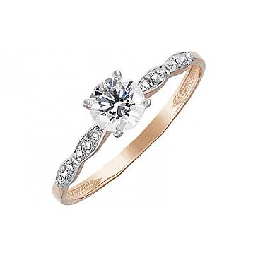 Кольцо с кристаллом SWAROVSKI и фианитом из красного золота 133549