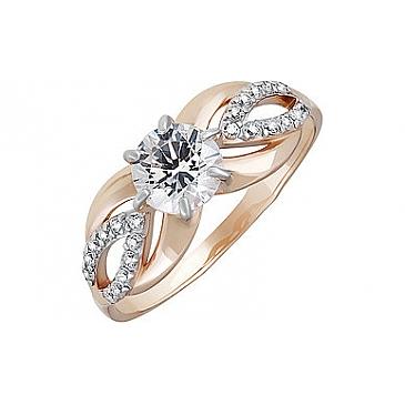 Кольцо с кристаллом SWAROVSKI и фианитом из красного золота 133550