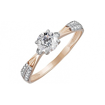 Кольцо с кристаллом SWAROVSKI и фианитом из красного золота 133523