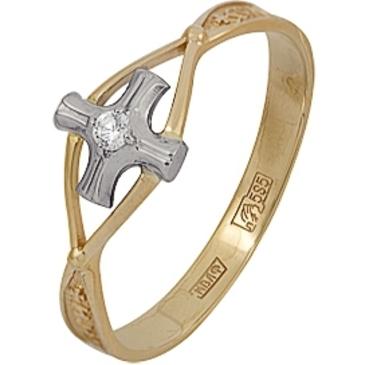 кольцо спаси и сохрани с крестом c фианитом из красного золота 12028383