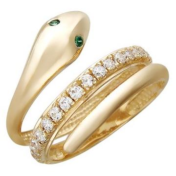 Кольцо змея с фианитом и шпинелью из красного золота,артикул 01К211824.