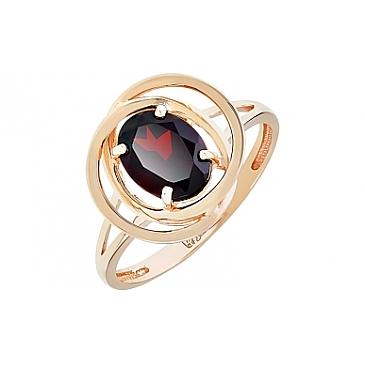 Кольцо с гранатом из красного золота 112169 от EVORA