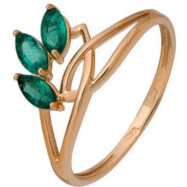 кольцо c 3 изумрудами из красного золота 1010002692