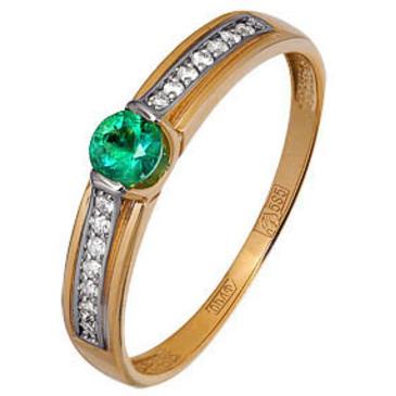 кольцо c бриллиантовой дорожкой и изумрудом из красного золота 11437721