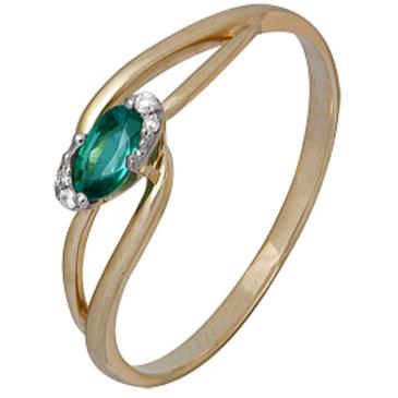 кольцо c изумрудом и  бриллиантами из красного золота 1910202290