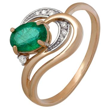кольцо c изумрудом и брилиантами из красного золота 1910202502