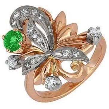 кольцо c изумрудом и бриллиантами из красного золота 12431634