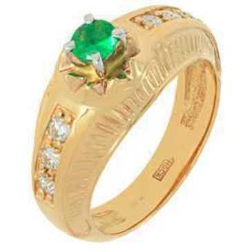 кольцо c изумрудом и бриллиантами из красного золота 12437791
