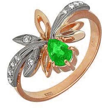 кольцо c изумрудом и бриллиантами из красного золота 14431632