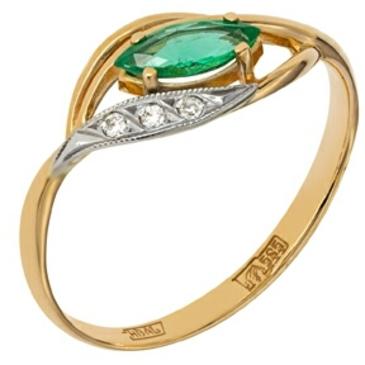 кольцо c изумрудом и бриллиантами из красного золота 12438531