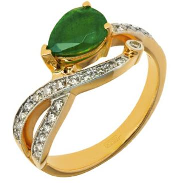 кольцо c изумрудом и бриллиантами из красного золота 11438672