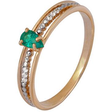 кольцо c изумрудом и бриллиантами из красного золота 1911102284