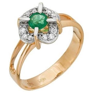 кольцо c изумрудом из красного золота 12431260