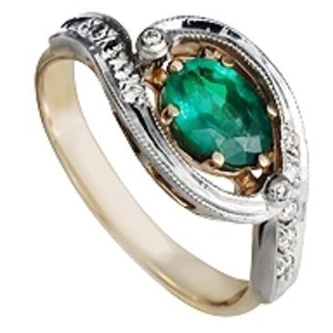 кольцо c изумрудом из красного золота 12432943