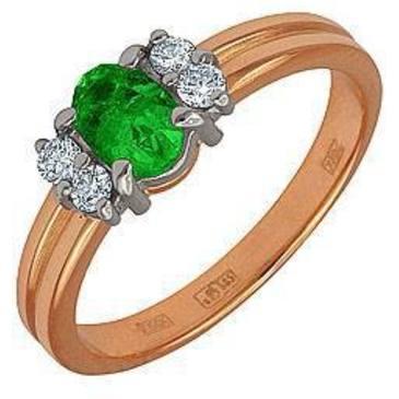 кольцо c изумрудом из красного золота 12431074