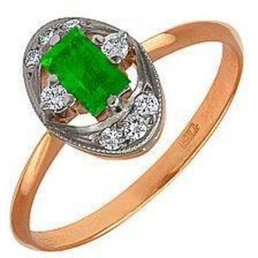 кольцо c изумрудом из красного золота 12431703