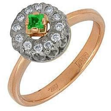 кольцо c изумрудом из красного золота 1243624