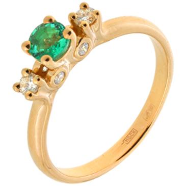 кольцо c изумрудом из красного золота 11437547