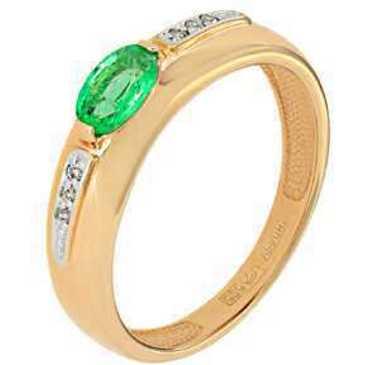 кольцо c изумрудом из красного золота 11438282