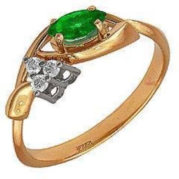 кольцо c изумрудом из красного золота 12431556