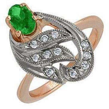 кольцо c изумрудом из красного золота 12431572