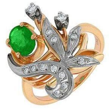 кольцо c изумрудом из красного золота 12431573