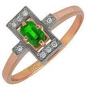 кольцо c изумрудом из красного золота 12431619