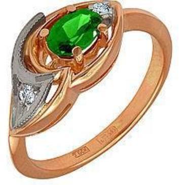 кольцо c изумрудом из красного золота 12431633