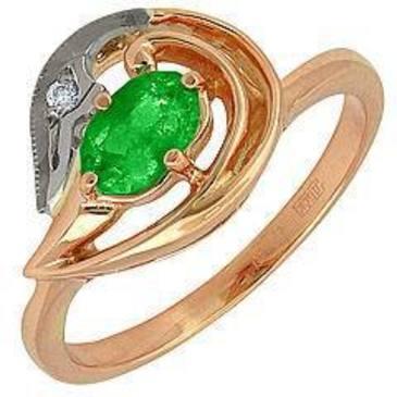 кольцо c изумрудом из красного золота 12431636