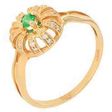 кольцо c изумрудом из красного золота 11433815