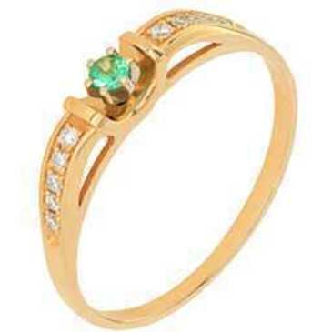 кольцо c изумрудом из красного золота 12433813