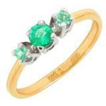 кольцо c изумрудом из красного золота 12401548