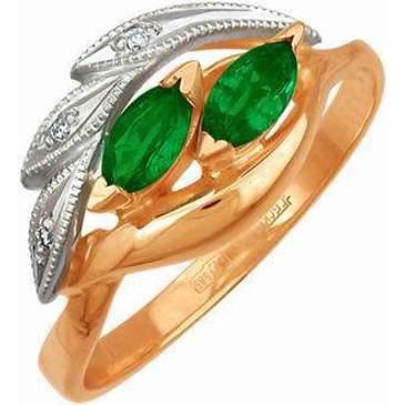 кольцо c изумрудом из красного золота 12431529